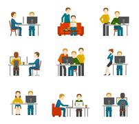 Coworking Center Icons - stock illustration