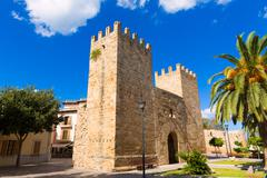 Alcudia Old Town Majorca Porta des Moll Mallorca Stock Photos