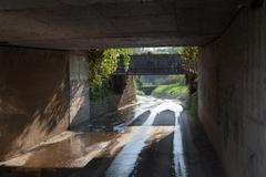 Wet underpass - stock photo