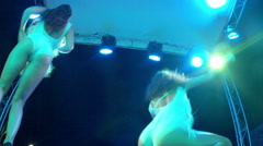 Club dancers on the stage of summer nightclub (view from thebottom) Stock Footage