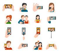 Selfie Icons Flat Piirros