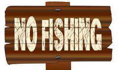 No Fishing Wooden Sign Stock Illustration