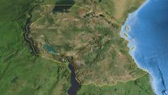 Tanzania, glide over the map, outlined Stock Footage