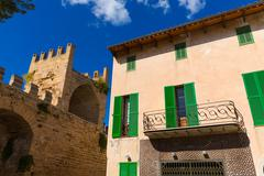 Stock Photo of Alcudia Old Town fortres wall in Majorca Mallorca
