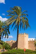 Alcudia Old Town fortres wall in Majorca Mallorca - stock photo