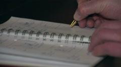 Pen, notebook, hand Stock Footage