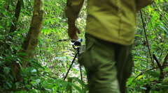 Wildlife Photographer walking in rain forest jungle Stock Footage