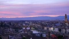 TL 4K Skyline Italy Tuscany Toscana Florence river Arno Bridge Ponte Vecchio Stock Footage