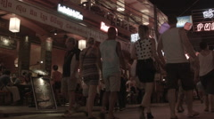 A shot of Pub Street in Siem Reap Cambodia at night Stock Footage
