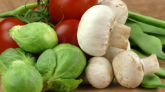 Vegetables All Together Mushrooms Macro Stock Footage