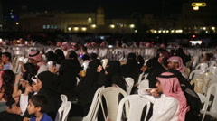 Muslim arabic crowd audience Stock Footage