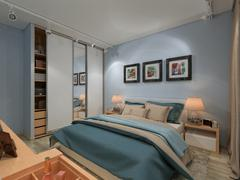 Bedroom in a private house in blue and beige colors - stock illustration