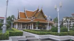 Wat Rachanadda Buddhist Temple at Bangkok in Thailand Stock Footage
