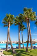 Platja de Alcudia beach in Mallorca Majorca - stock photo