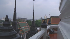 City scape from the Loha Prasat Monastery at Bangkok in Thailand Stock Footage