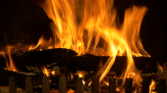 Burning indoor fireplace, filmed in 4k Stock Footage