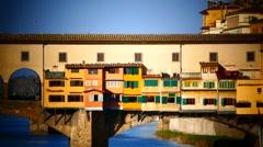 Skyline Italy Tuscany Toscana Florence river Arno Bridge Ponte Vecchio Stock Footage