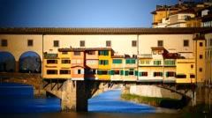 Skyline Italy Tuscany Toscana Florence river Arno Bridge Ponte Vecchio - stock footage