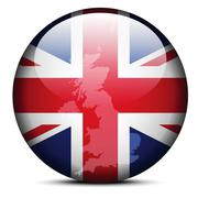 Map on flag button - United Kingdom of Great Britain and Northern Ireland Stock Illustration
