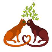 Two cats kiss under the mistletoe - stock illustration