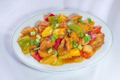 Sweet and sour sauce fried with pork Stock Photos