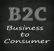 Chalkboard illustration of b2c - business to consumer - stock illustration