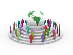 3d global village concept - stock illustration