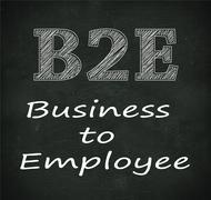 Chalkboard illustration of b2e - business to employee - stock illustration