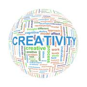 Wordcloud word tags ball of creativity - stock illustration