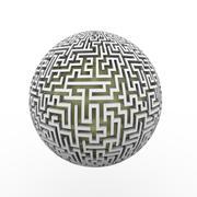 3d  endless labyrinth maze planet ball Stock Illustration