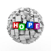 3d cubes boxes sphere ball - hope - stock illustration