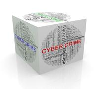 3d cube word tags wordcloud of cyber crime - stock illustration