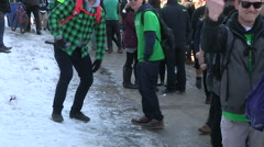 Diverse college and university students street party on campus in Waterloo Stock Footage