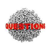 3d questions text on question mark sphere ball Stock Illustration