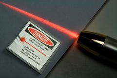 Red Laser Light Beam - stock photo