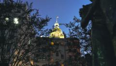 Savannah Georgia Freedom Statue Night Downtown Courthouse Stock Footage
