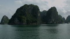 A boat cruise through Ha Long Bay Vietnam - stock footage