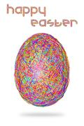 Easter egg of colorful stripes on white background - stock illustration