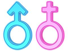 Stock Illustration of Male and female gender symbols of blue and pink colors on white