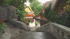 Stairs at the Golden Mount in Bangkok, Thailand Stock Footage