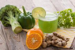 Broccoli and green paprika mix juice - stock photo