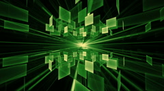 Green Cubes in Rotation, Geometrical Horizon With Rays Of Light Stock Footage