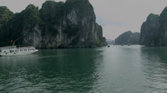 A boat cruise through Ha Long Bay Vietnam - Clip X2 - stock footage