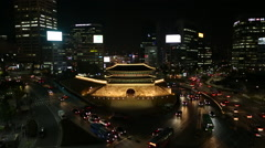 Seoul - Namdaemun Night View Stock Footage