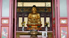 Buddha Statue Altar Stock Footage