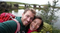Selfie - travel couple on lake Myvatn Iceland Stock Footage