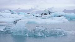 Jokulsarlon glacial lake in Iceland by Vatnajokull Stock Footage