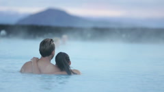 Hot spring geothermal spa Iceland romantic couple - stock footage