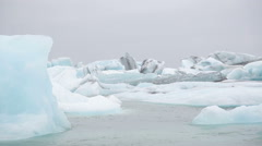 Jokulsarlon glacial lake icebergs Iceland Vatnajokull Stock Footage
