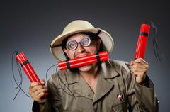 Funny safari hunter against background Stock Photos